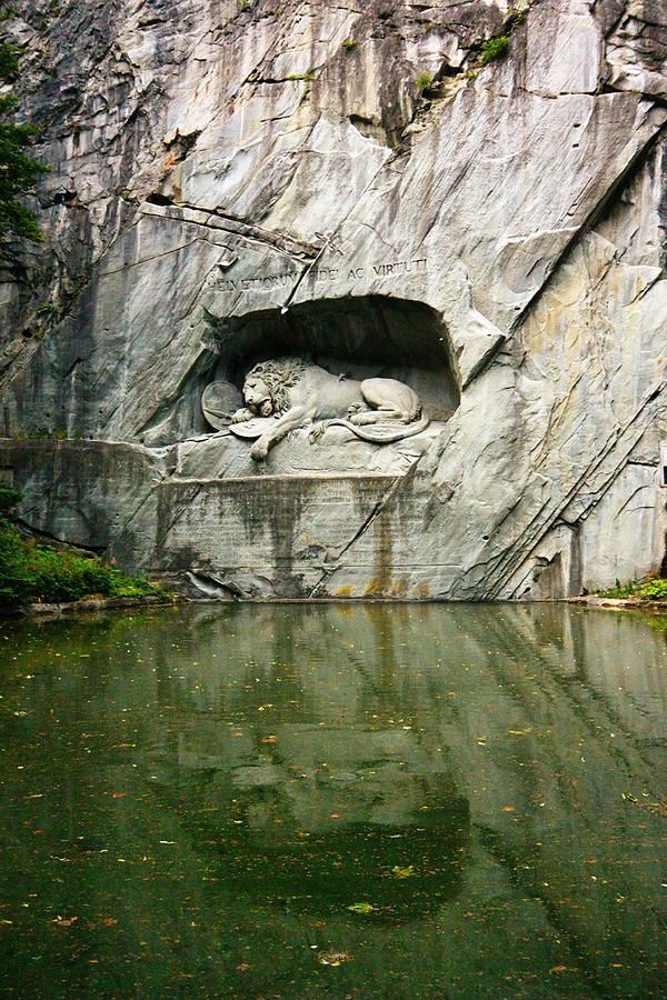Lion Photograph - Lion Monument of Lucerne by Two Small Potatoes