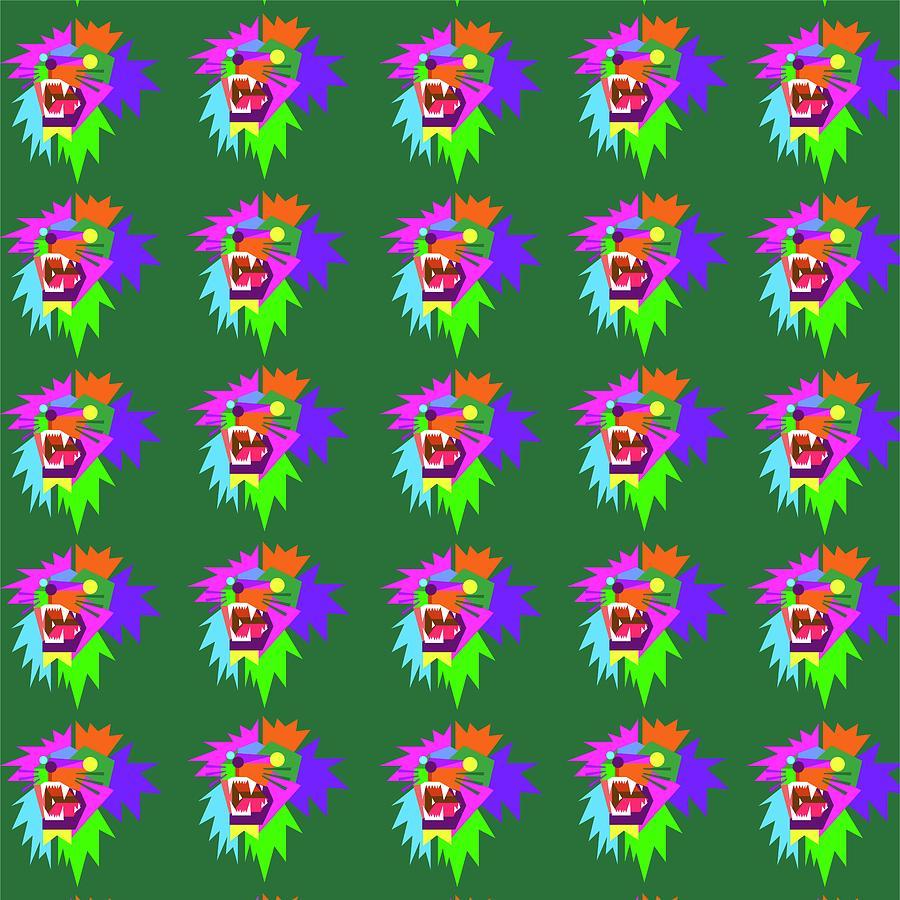 Lion Pattern Wpap Style Green Background Digital Art