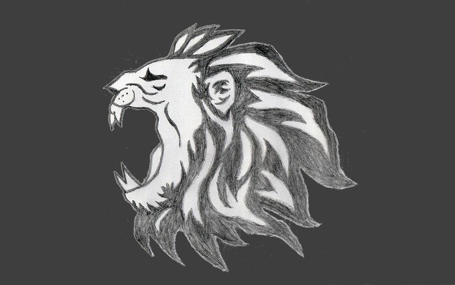 Lion Drawing - Lion Side Face by Sandeep Choudhary