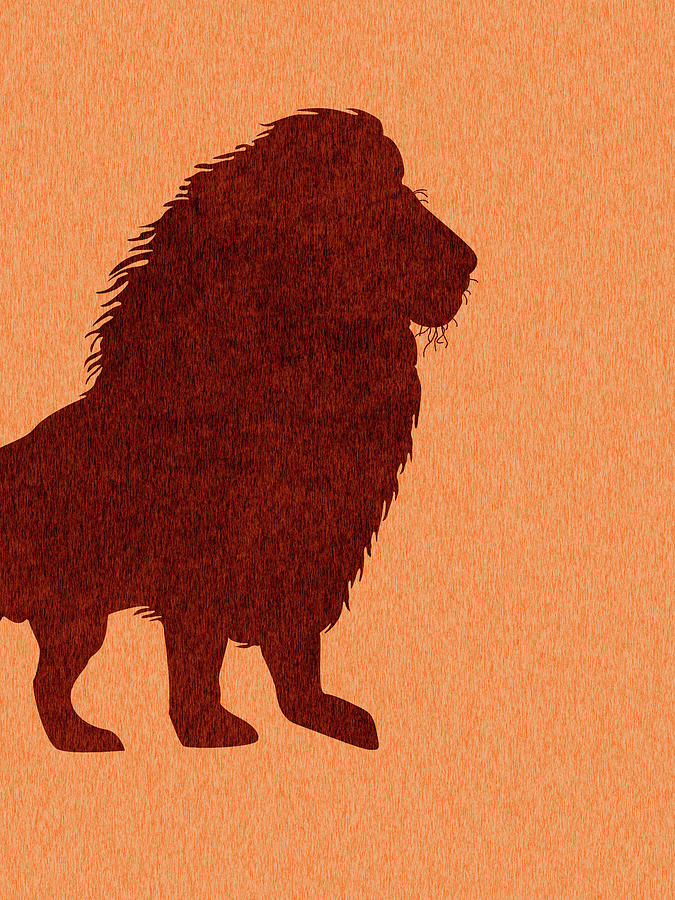 Lion Silhouette - Scandinavian Nursery Decor - Animal Friends - For Kids Room - Minimal Mixed Media