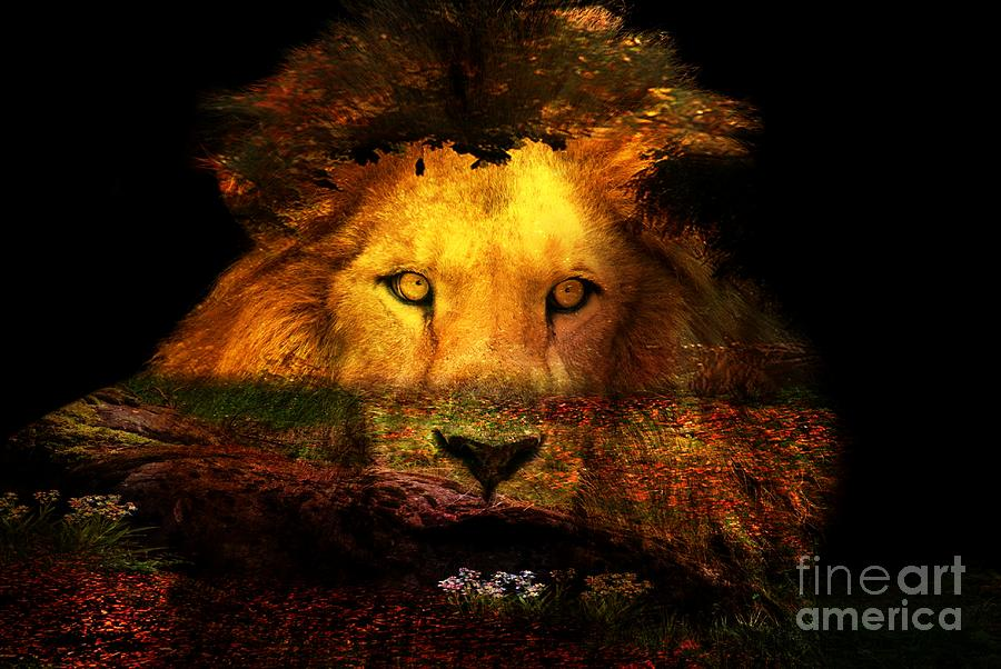 The Lion Watches Digital Art