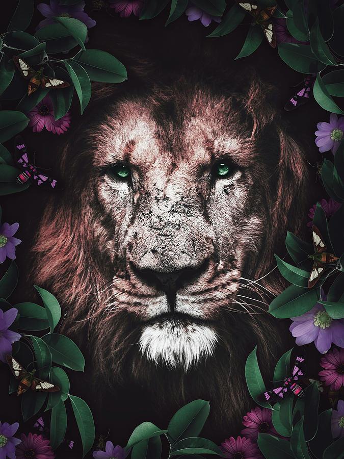 Lion With Purple Flowers Digital Art