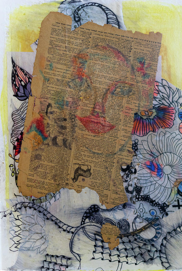 Doodles Mixed Media - Lips Collage  by Cathy Anderson