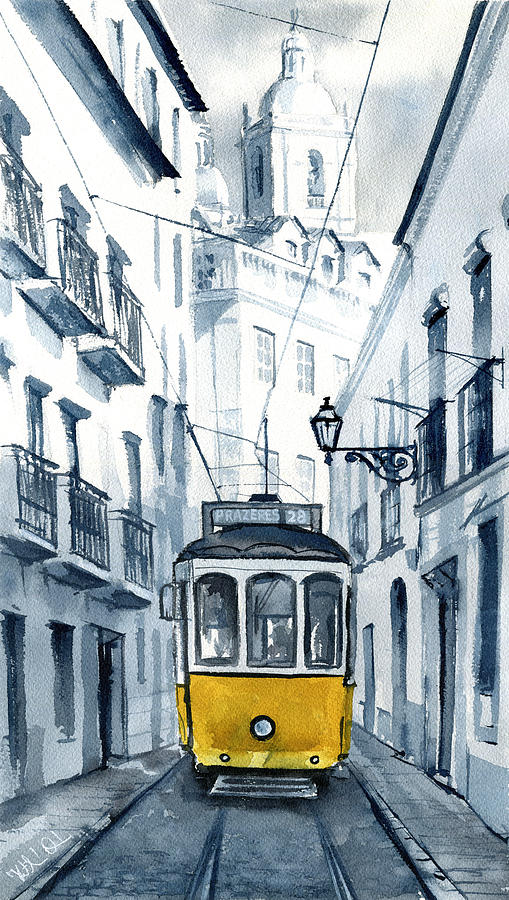 Lisbon 28 Yellow Tram in Alfama by Dora Hathazi Mendes