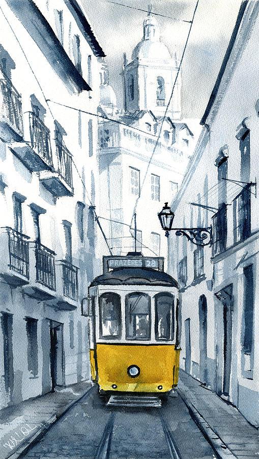 Lisbon 28 Yellow Tram in Alfama by Dora Hathazi Mendes