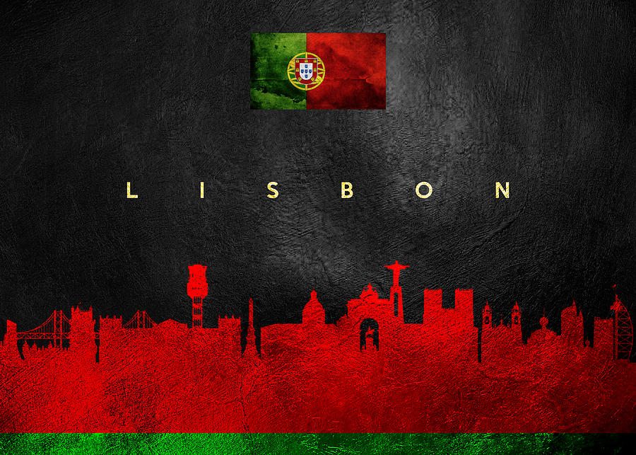 Lisbon Portugal Skyline Digital Art