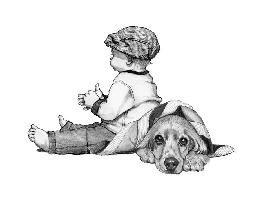 Litte Boy And Cocker Spaniel Dog Drawing