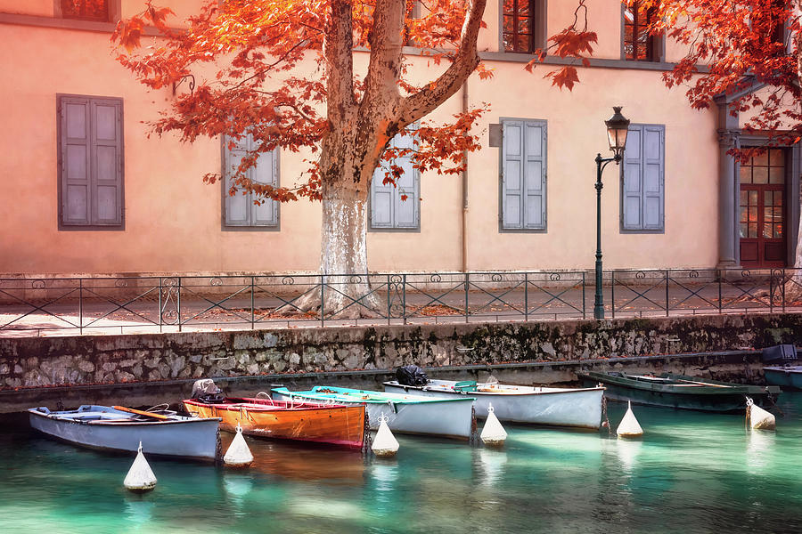 Little Boats On Canal Du Vasse Annecy France Photograph