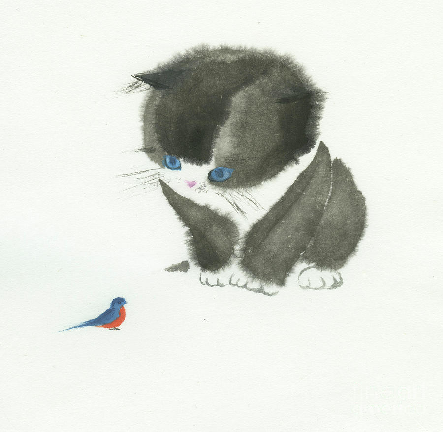 Little Cat Found a Bird Painting by Mui-Joo Wee