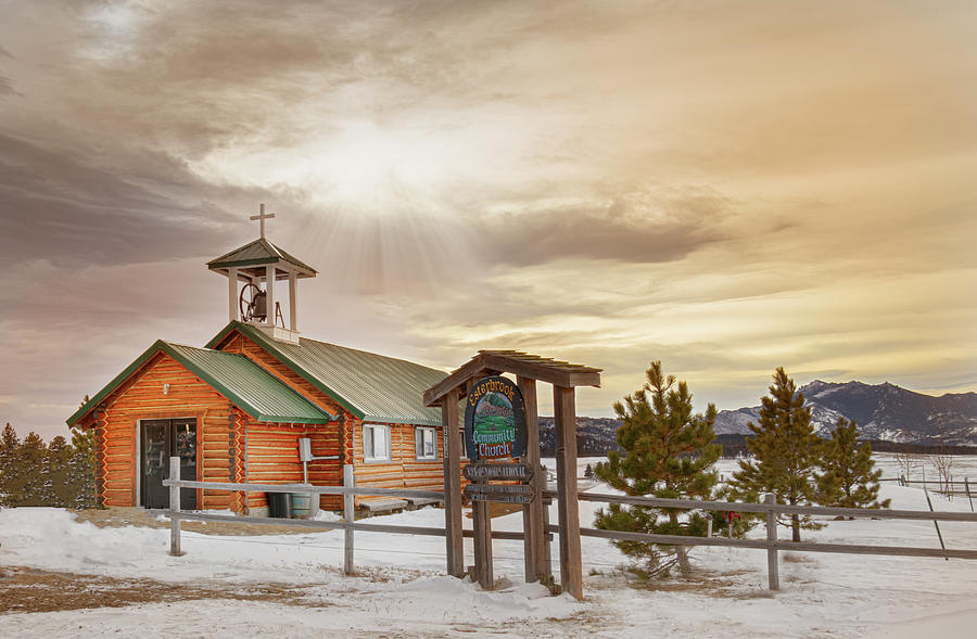 Church Photograph - Little Church in the Mountains by Laura Terriere