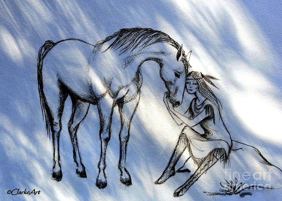 A Girl And Her Horse Drawing