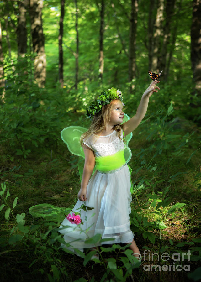 Little Fairy With Monarch Butterfly Photograph