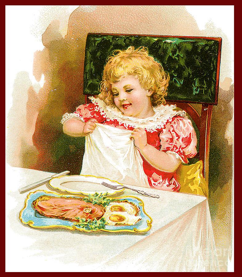 Little Girl Eating Ham And Eggs Illustration Painting