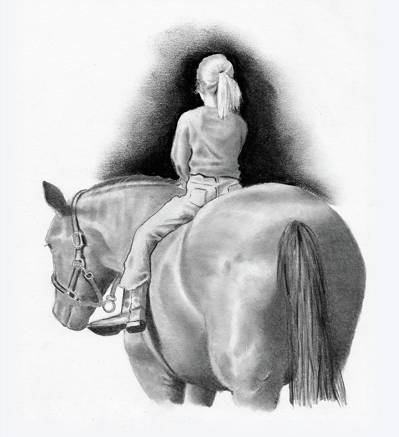 Little Girl On Horseback Drawing