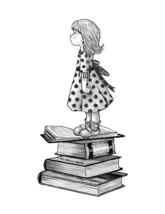 Little Girl Standing On Books Drawing