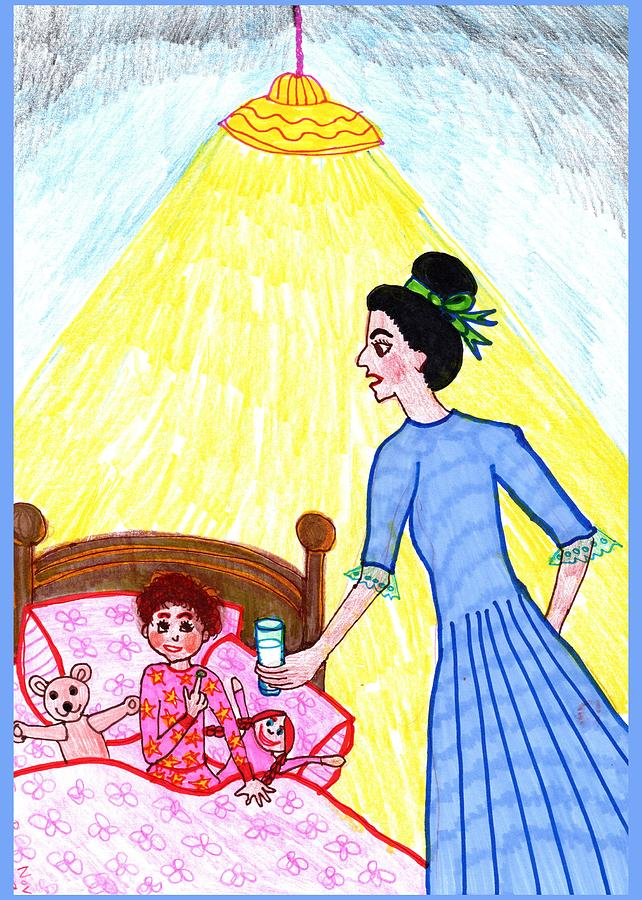 Nursery Rhyme Drawing - Little Molly Willows by Sushila Burgess
