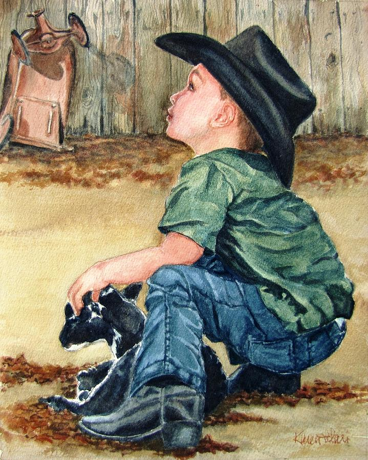 Children Painting - Little Ranchhand by Karen Ilari