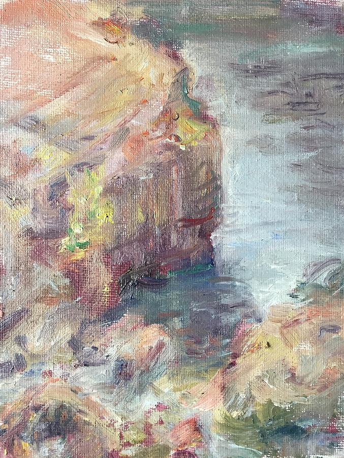 Little River Meets Umpqua, Plein Air, Original Impressionist Painting by Quin Sweetman