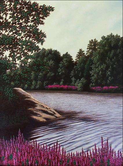Purple Painting - Little River Summer by Anthony Petchkis