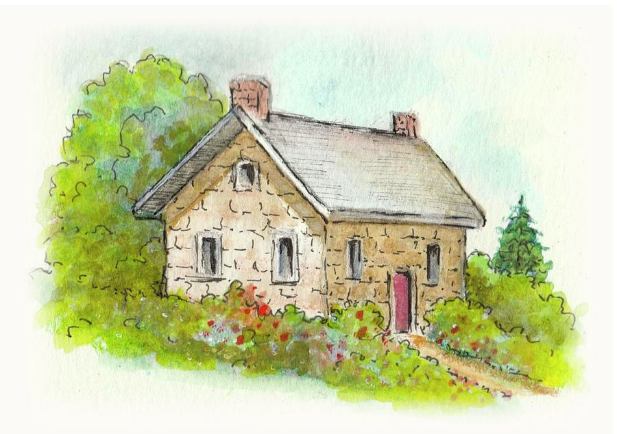 Little Stone Cottage In Watercolor Painting