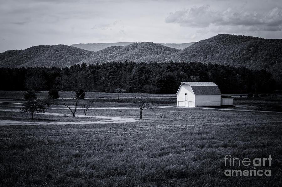 Little White Barn- WV-BW by Kathleen K Parker