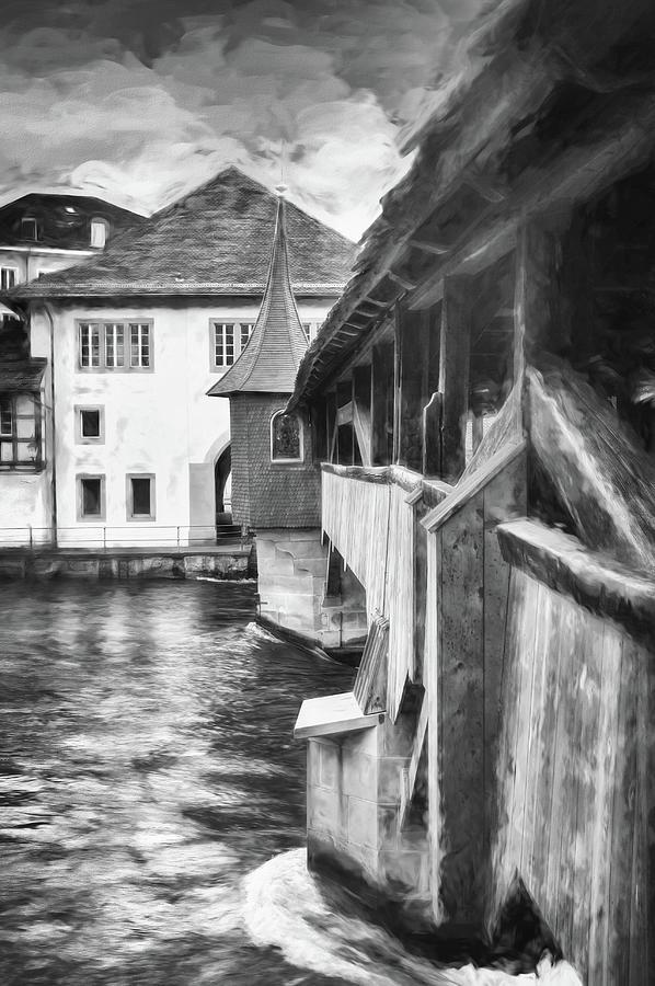 Little Wooden Bridge Lucerne Switzerland Black And White Photograph