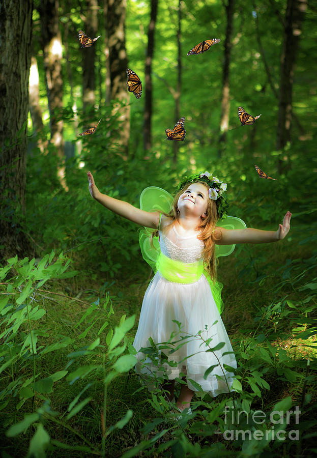 Little Fairy Princess Releasing Butterflies by Diane Diederich