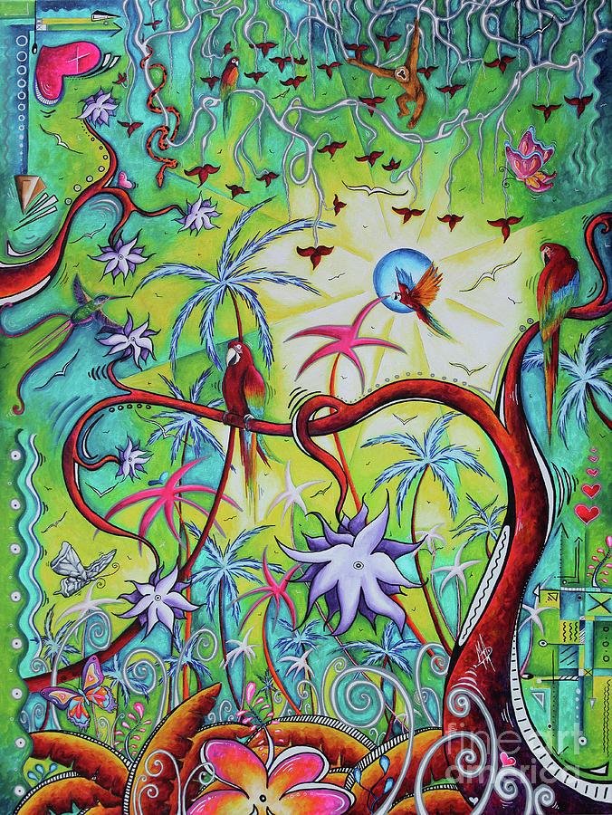 Live Free Original Fantasy Jungle MAD Wonderland Painting Art by Megan Duncanson by Megan Duncanson