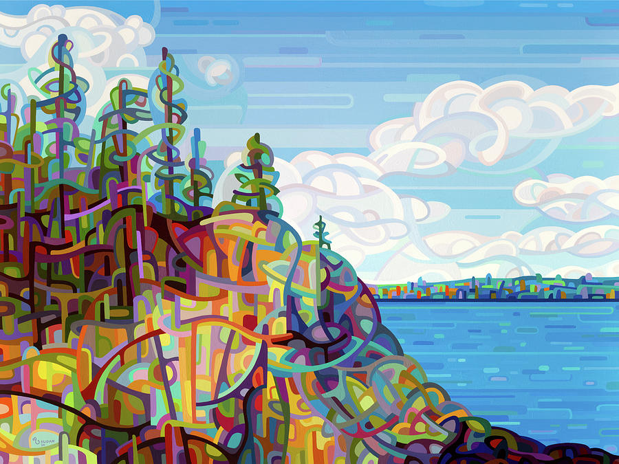 Summer Lake Painting - Living on the Edge by Mandy Budan