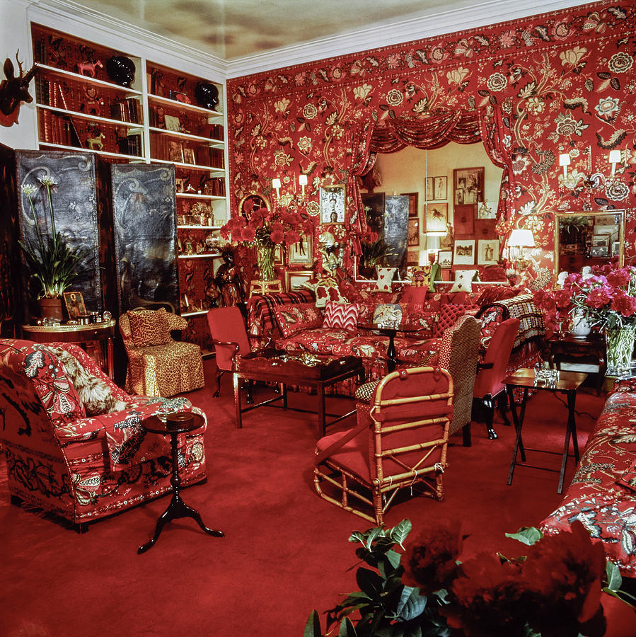 Living Room in the Manhattan Apartment of Diana Vreeland Photograph by Richard Champion