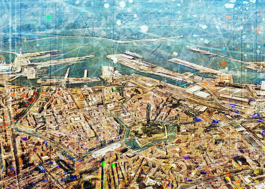 Livorno Aerial Panorama Digital Art