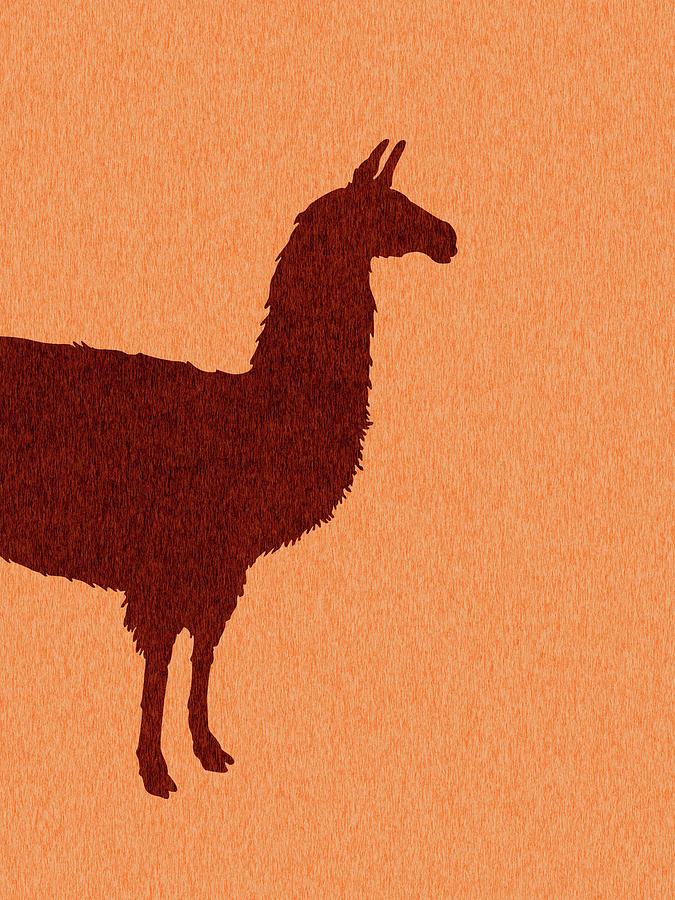 Llama Silhouette - Scandinavian Nursery Decor - Animal Friends - For Kids Room - Minimal Mixed Media