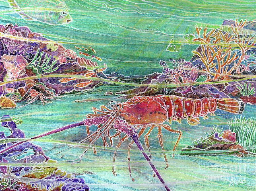 Underwater Painting - Lobster Crossing by Amelia at Ameliaworks