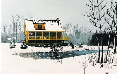 Log Cabin Painting by David Ellis