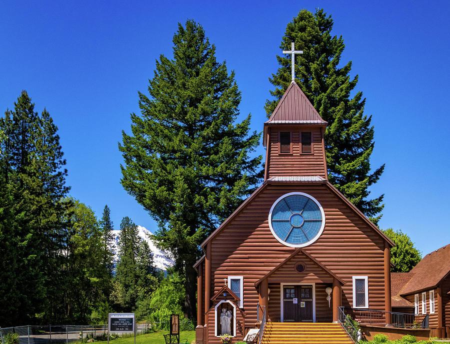 Log Church in McCloud CA by Carolyn Derstine