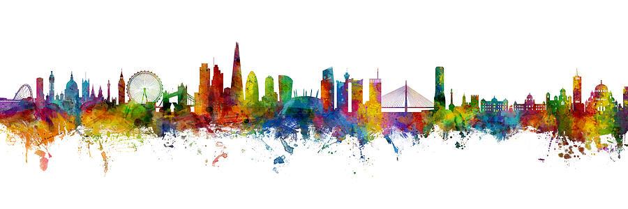 Belgrade Digital Art - London and Belgrade Skyline Mashup by Michael Tompsett