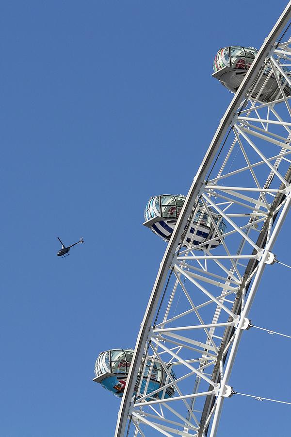 London Eye And Helicopter Photograph