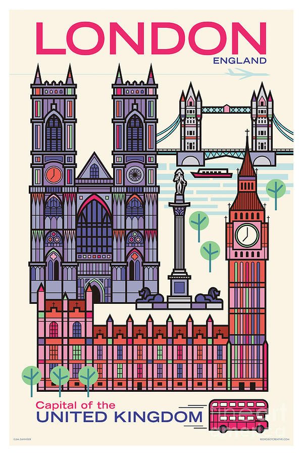 Mid Century Modern Digital Art - London Poster - Retro Travel  by Jim Zahniser