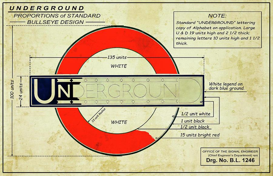 Underground Digital Art - London Underground Sign Engineers Drawing 1925 by Daniel Hagerman