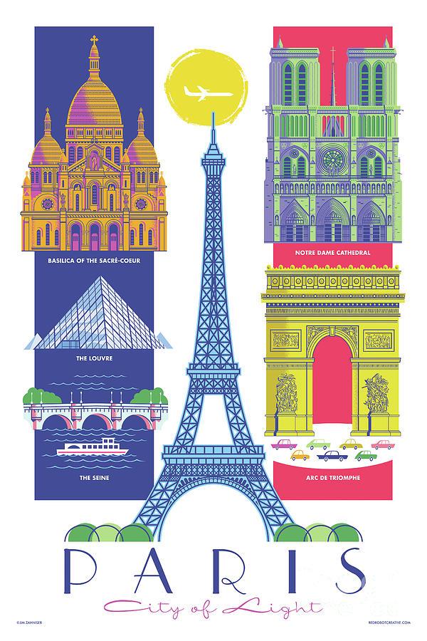 Mid Century Modern Digital Art - Paris - Retro Travel Poster  by Jim Zahniser