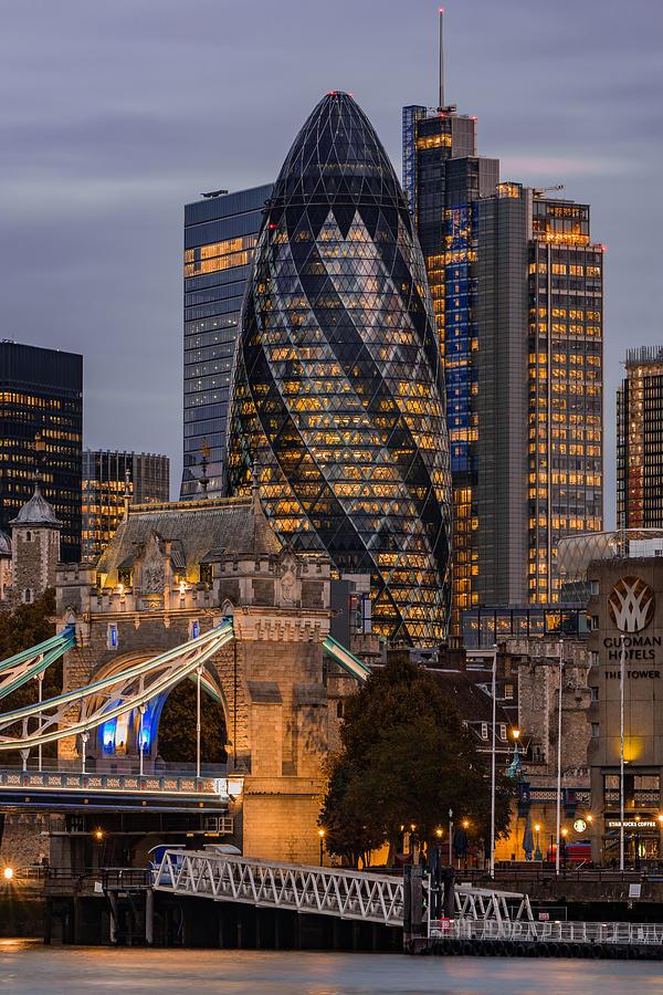 Londons Skyline Seen At Blue Hour. Photograph