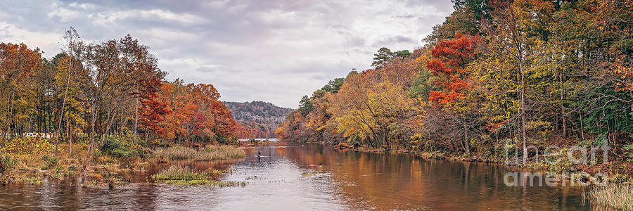 Lone Angler on the Mountain Fork River at Beaver's Bend State Park - Broken Bow Oklahoma by Silvio Ligutti