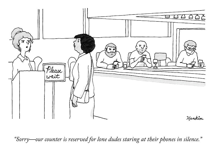 Lone Dudes Staring At Their Phones Drawing by Charlie Hankin
