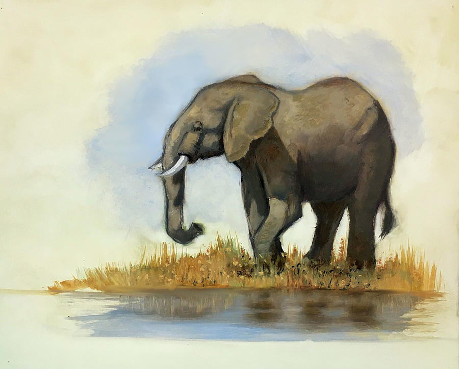 Lone Elephant Oil Sketch Painting