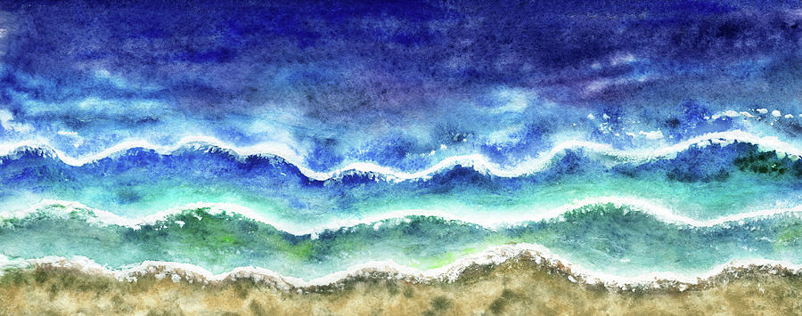 Long Beach Ocean Waves Watercolor Art Painting