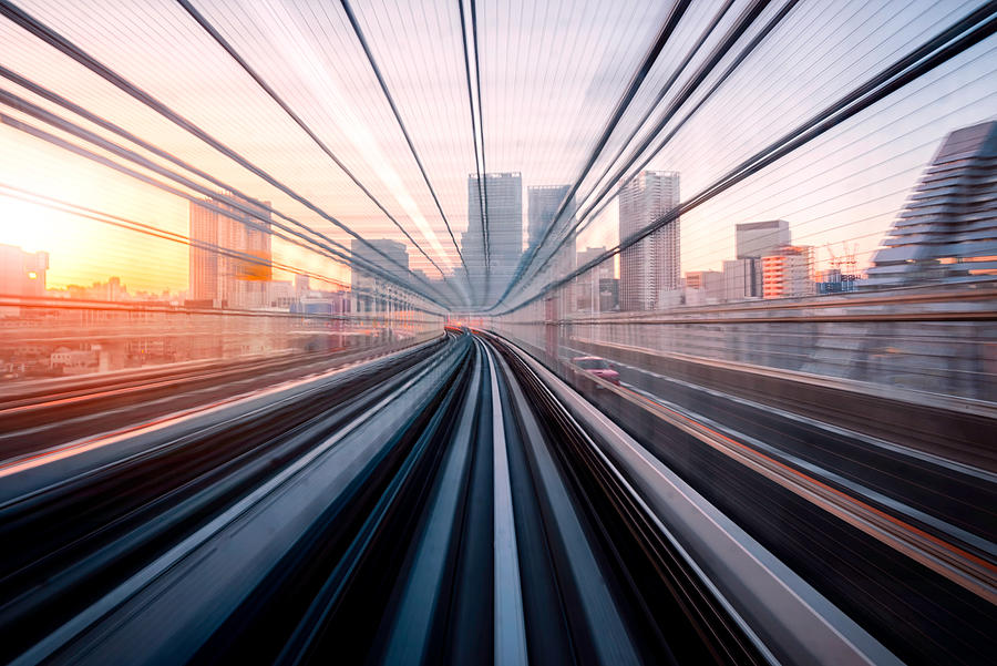 Long exposure on Tokyo train, Japan Photograph by Wichianduangsri