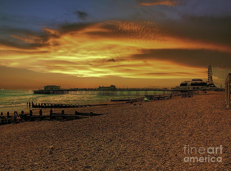 Worthing Photograph - Long shot down the beach by Leigh Kemp