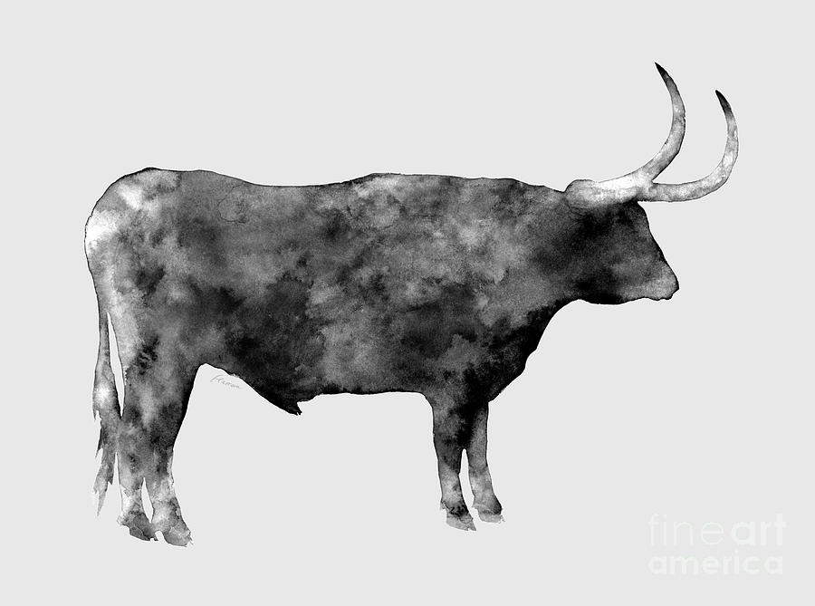 Longhorn In Black And White Painting