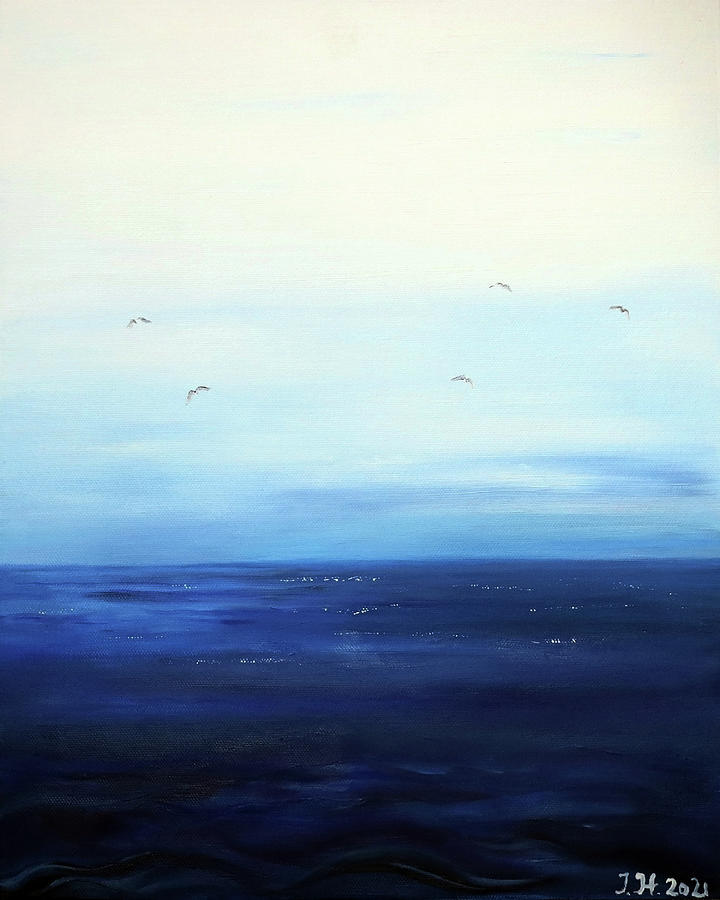 Looking At The Horizon In The Evening Hour Signed Painting Painting