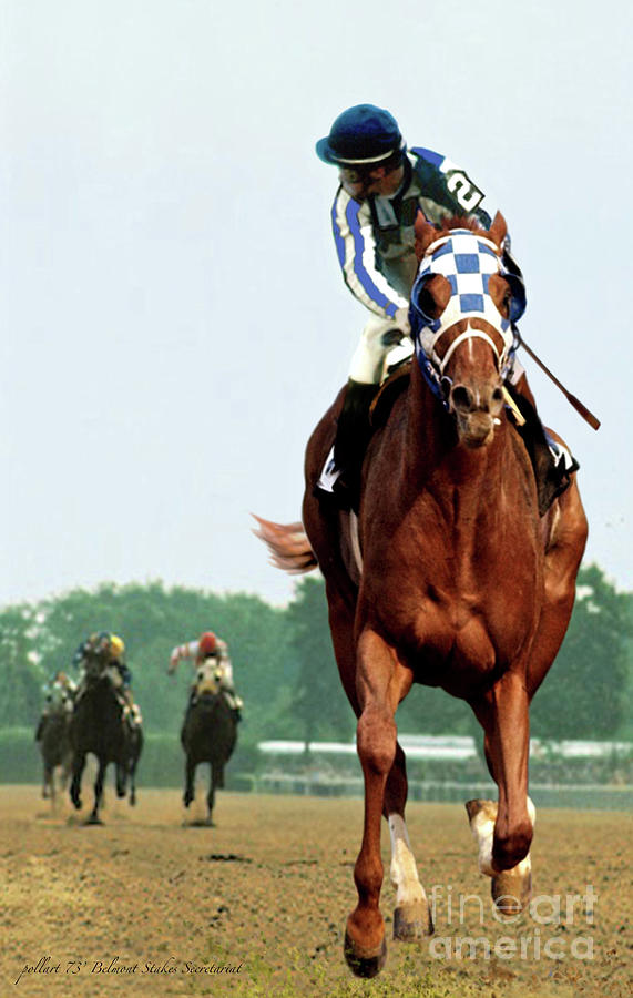 Belmont Stakes Painting -  Looking Back, 1 1/2 mile Belmont Stakes Secretariat 06/09/73 time 2 24 - painting by Thomas Pollart